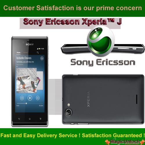 Sony Ericsson Xperia™ J / ST26i Sim Network Unlock Pin / Network