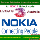 NOKIA BB5 & SL3 Network Unlock Code / Restriction Code For Three ( 3 ) Australia