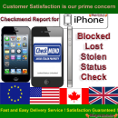 Checkmend Report for iPhone 5, 4S, 4, 3GS & 3G Blocked Lost Stolen Status Check Service by IMEI