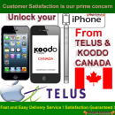 iPhone 5, 4S, 4, 3GS & 3G Permanent Unlocking service by imei from Telus / Koodo Canada network