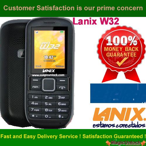 Lanix W32 Network Unlock Code / SIM network unlock pin