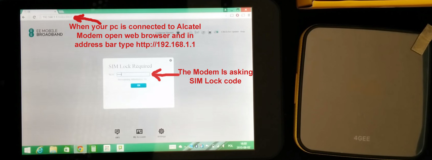Alcatel One Touch Y600 Modem SIM Lock Required Code / NCK Code
